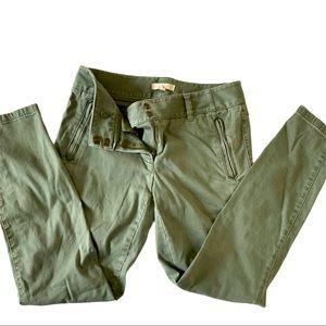 Loft Green Chino Dress Pants Zip Pockets Marisa 4